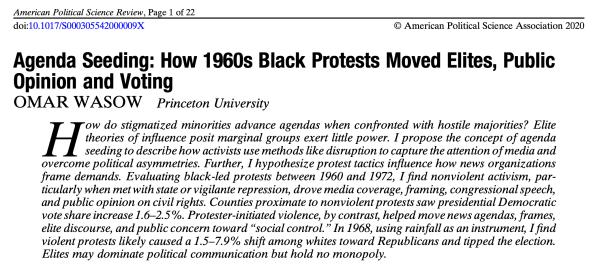 Violent vs nonviolent civil rights protest study